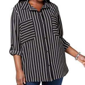 New NY Collection  Striped Blouse Top Sz 1X